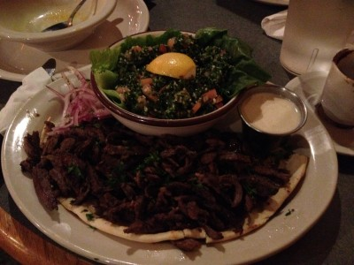 Lamb Shawerma over pita with Taboulee on the side