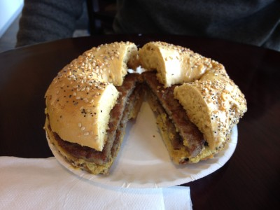 PoppySeeds - Egg Everything Bagel with Double Sausage & Spicy Mustard