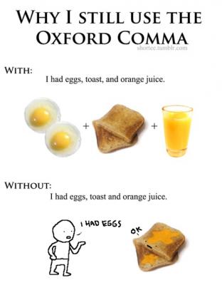 The Oxford Comma Toast & Orange Juice Illustration