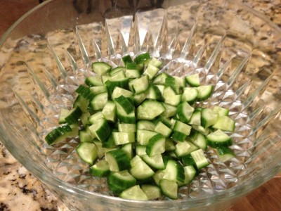 Diced cucumbers