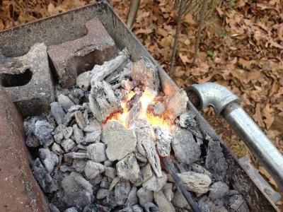 Cranking up the air supply to the forge fire