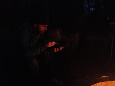 Adam enjoying outdoor dinner