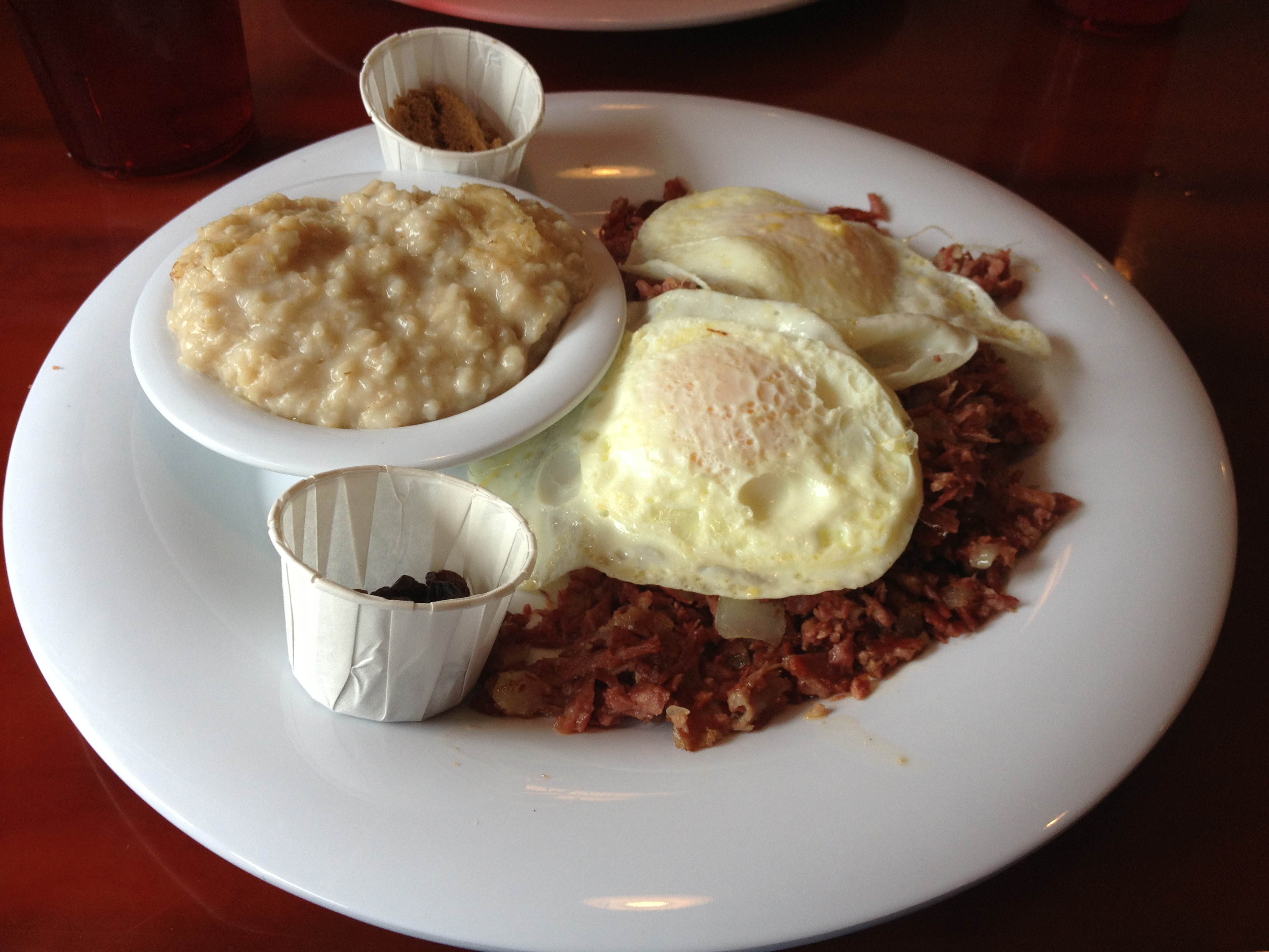 Corned beef hash, two over medium eggs, and oatmeal...yum!