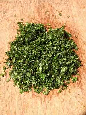 Minced basil...yep there's a lot of mincing here.