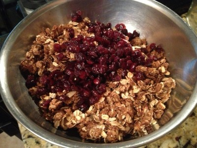 Done! Time to mix in cranberries.