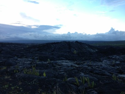 Bubble where live lava pushed through cooled lava