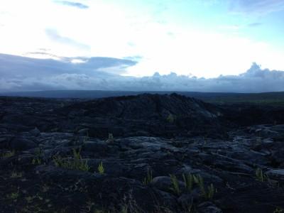 Bubble where live lava pushed through cooled lava
