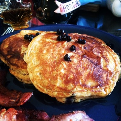 Blueberry pancakes with maple syrup...Mmmmmm...
