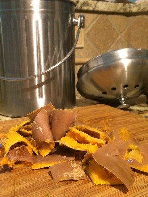 Cut up skin for composting.