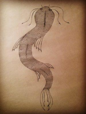 A bright blue and green sea serpent, the Kelanaga